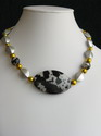 Black, Silver, and Gold Necklace